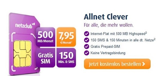netzclub allnet clever tarif - gratis sim karte