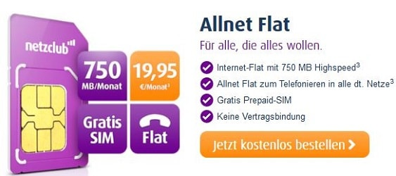 netzclub allnet flat Tarif - gratis sim karte