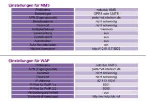 netzclub APN Einstellung - Internet / MMS / WAP