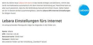 Lebara Internet aktivieren (APN Einstellungen)