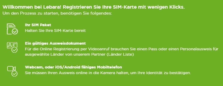 Lebara SIM Karte aktivieren