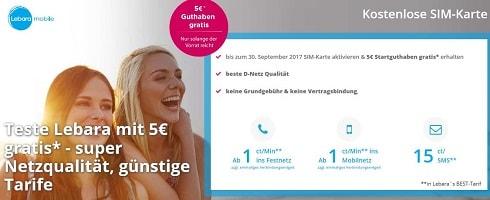 Lebara + 5 EUR Startguthaben