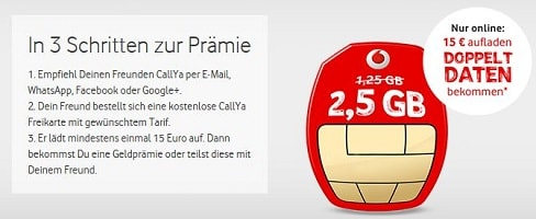 Vodafone CallYa Freikarte + 5 EUR Startguthaben